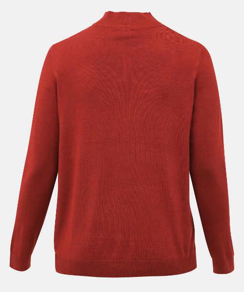 Červený dámský svetr s malým stojáčkem