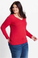 Lehčí jarní svetr pro plnoštíhlé
