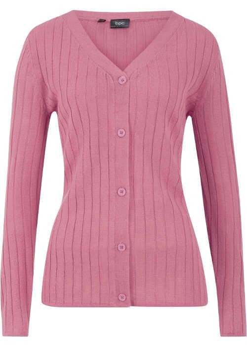 Růžový dámský knoflíkový svetr Bonprix