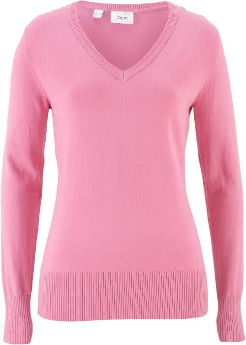 Růžový svetr bez zapínání s výstřihem do V