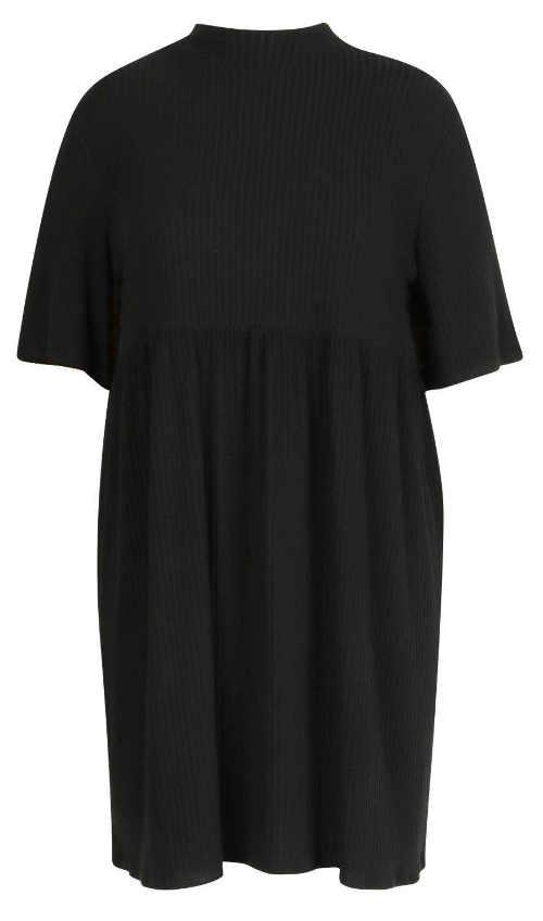 Volné dámské šaty z černého úpletu s délkou nad kolena