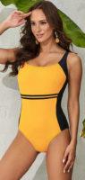 Žluté sportovní jednodílné plavky pro větší poprsí