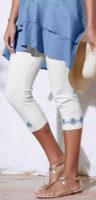 Bílé korzárské dámské kalhoty s výšivkou