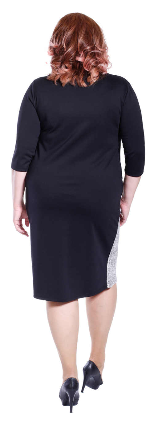 Černé šaty pro plnoštíhlé s délkou ke kolenům