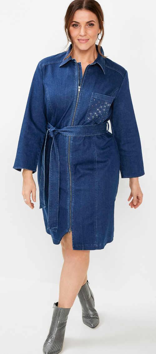 Džínové dámské šaty s opaskem a zapínáním na přední zip