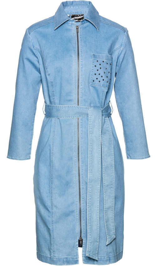 Košilové džínové dámské šaty s celorozpínacím zipem