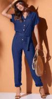 Modrý dámský letní kalhotový overal