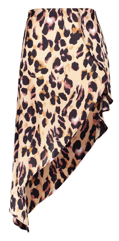 Saténová letní dámská sukně s leopardím vzorem