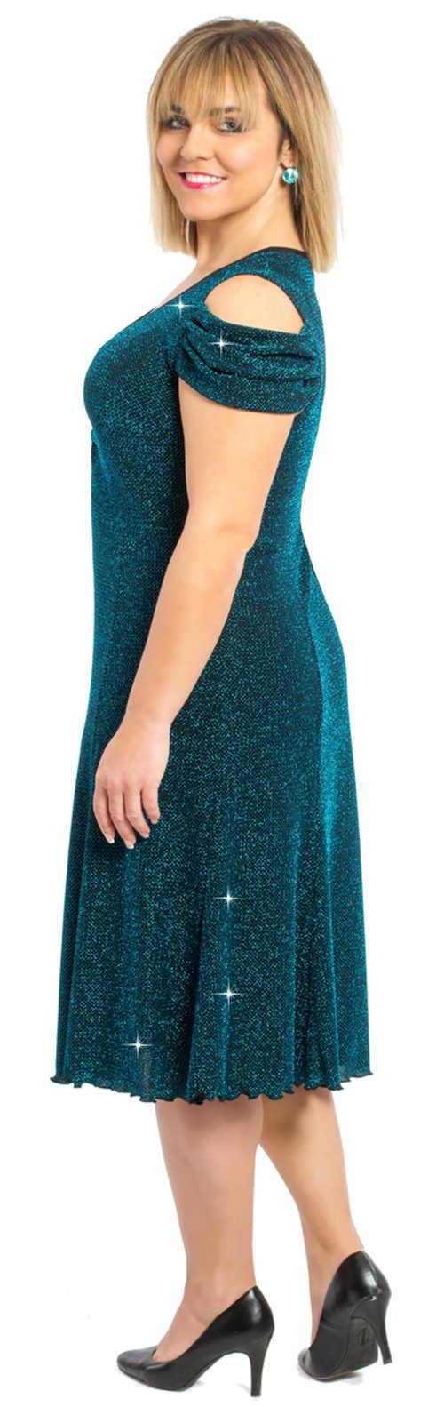 Tyrkysové plesové šaty pro plnoštíhlé