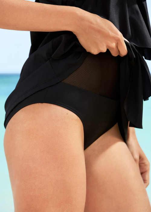 Černé plavkové kalhotky a síťovaná podšívka