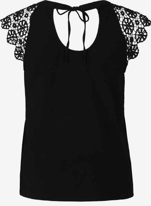 Černý dámský letní top s krátkými krajkovými rukávy