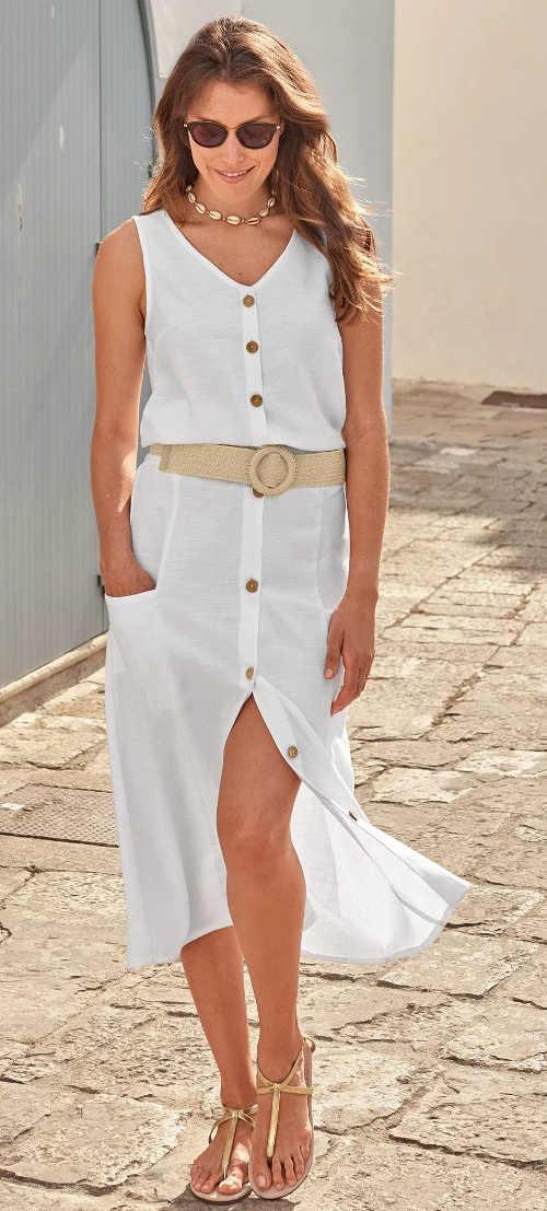 Dlouhá letní sukně s knoflíky na přední straně