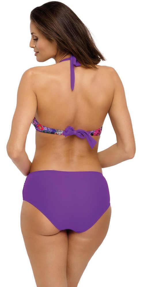 Fialové dámské dvoudílné plavky se zavazováním za krkem