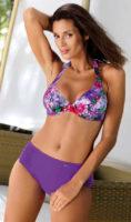 Fialové květinové dámské dvoudílné plavky pro plnoštíhlé