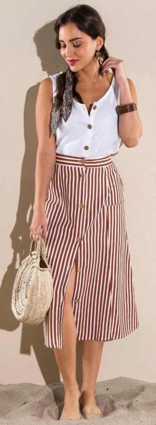 Pruhovaná dlouhá dámská letní sukně na knoflíky