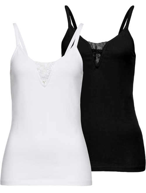 Černé a bílé dámské letní tílko dvoudílná sada