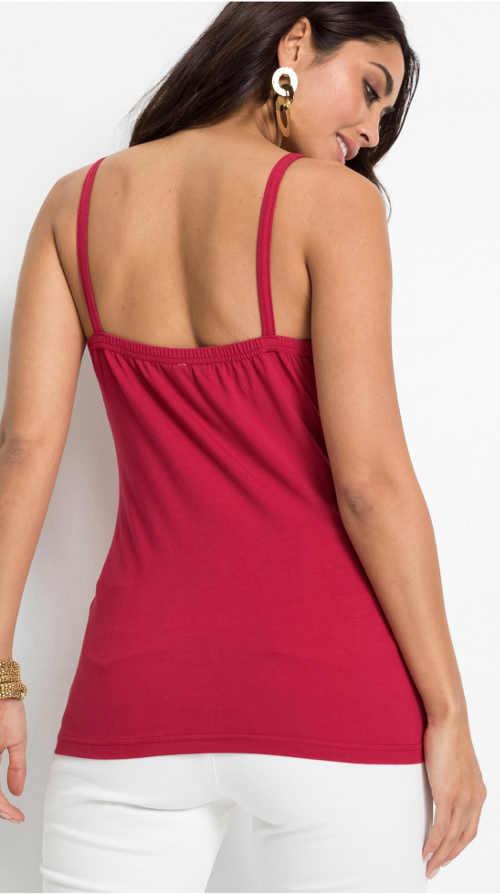 Červené dámské letní tílko pro plnější tvary