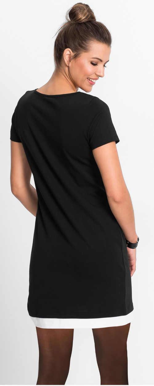 Letní černobílé tričkové minišaty