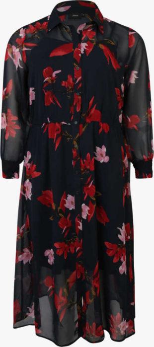 Černé dlouhé společenské košilové šaty s květinovým potiskem