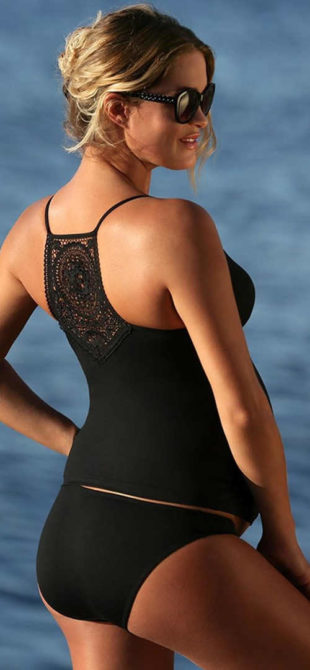 Černé těhotenské plavky tankiny s krajkou na zádech