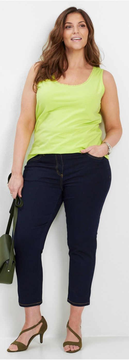 Dámské plus size tílko v limetkové letní barvě