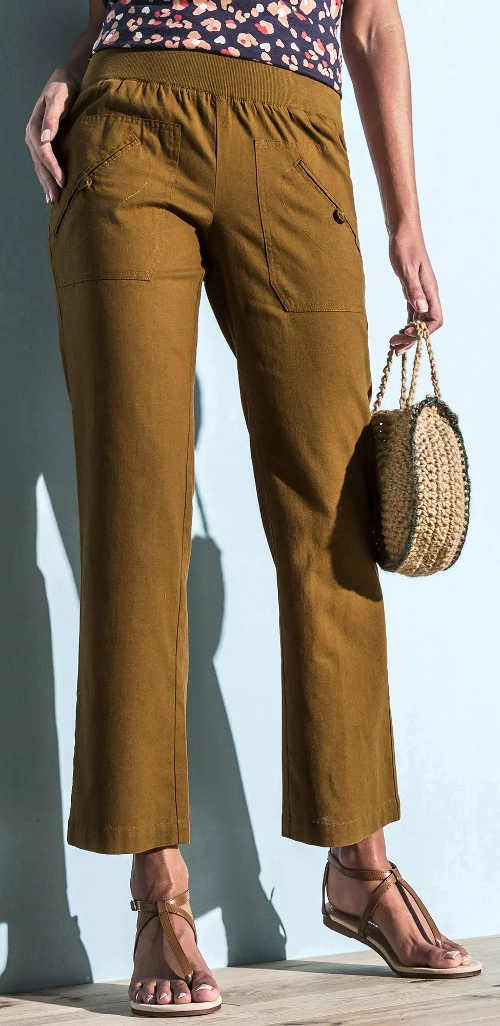 Hnědé letní kalhoty pro plnoštíhlé