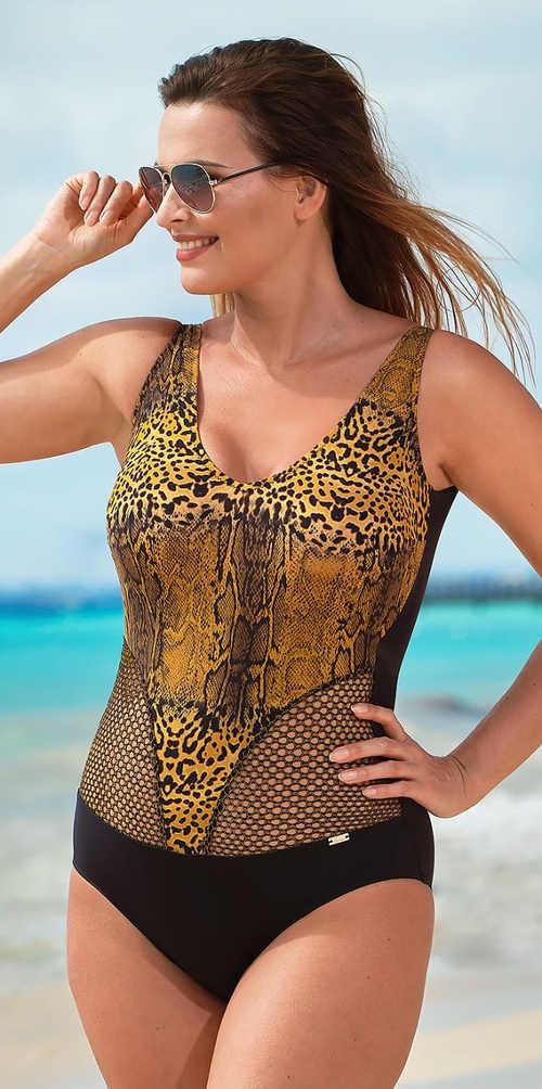 Jednodílné plavky pro plnoštíhlé s jaguářím vzorem a průsvitnou krajkou
