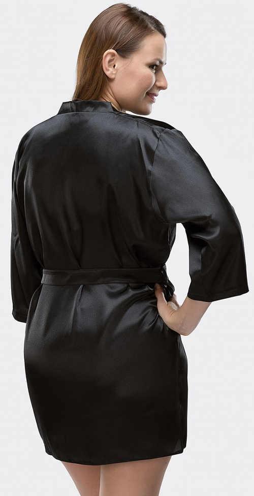 Krátký černý saténový župan se zavazováním v pase