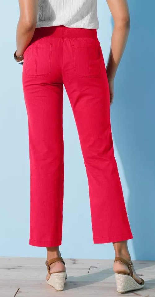 Kratší červené dámské letní kalhoty