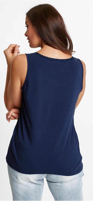 Modré dámské nadměrné tílko s krajkovým lemem