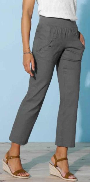 Sedmiosminové letní kalhoty ze lnu a bavlny