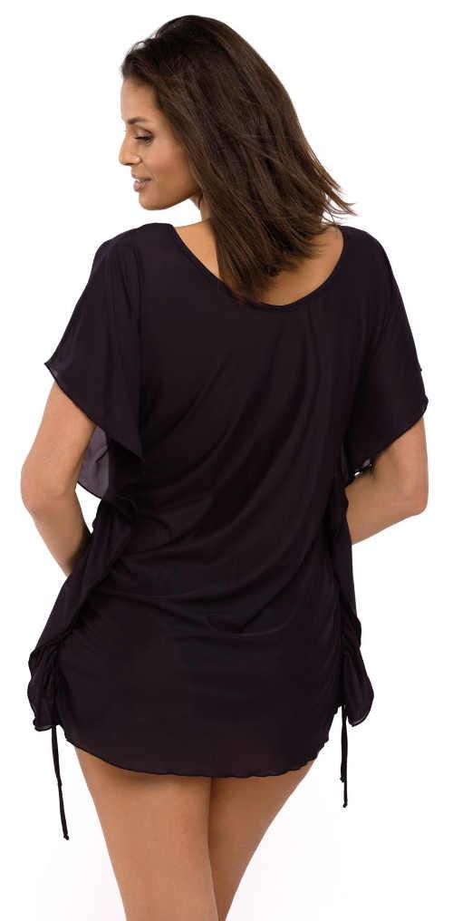 Volné černé tunikové šaty přes plavky