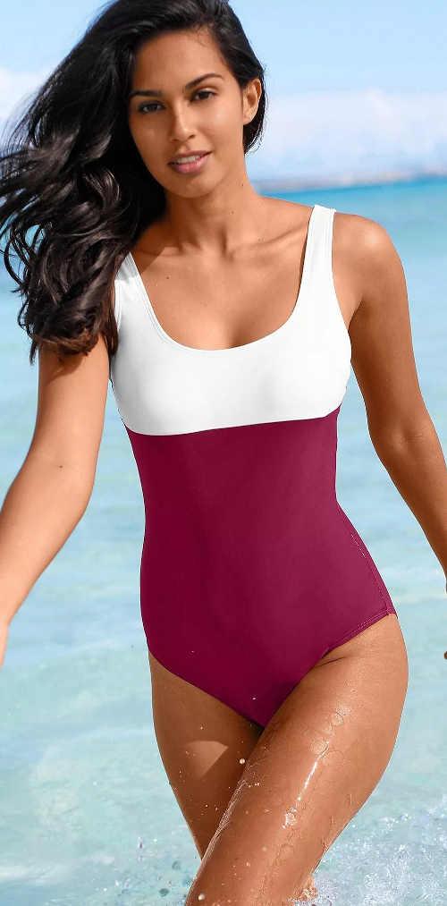 Fialovo-bílé jednodílné sportovní plavky pro silnější postavy