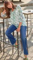 Modré dámské džíny do zvonu sepraného vzhledu