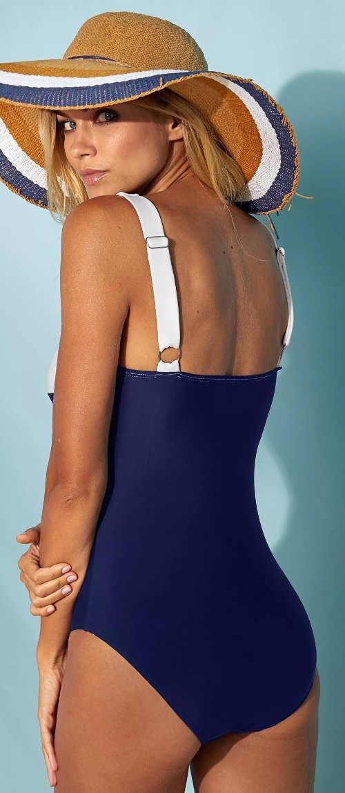Modré dámské jednodílné plavky se zeštíhlující podšívkou