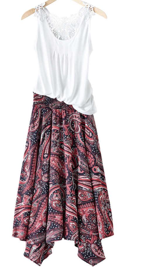 Barevná dámská sukně v zajímavém provedení