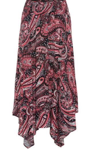 Barevná sukně s cípatým lemem do pružného pasu