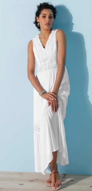 Dámské maxi šaty bez rukávů z příjemného materiálu