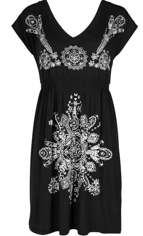 Dámské plážové šaty v černo-bílém provedení