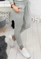 Dámské pohodlné teplákové kalhoty v šedém provedení