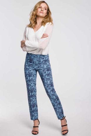 Moderní kalhoty s květovaným vzorem a pružným pasem