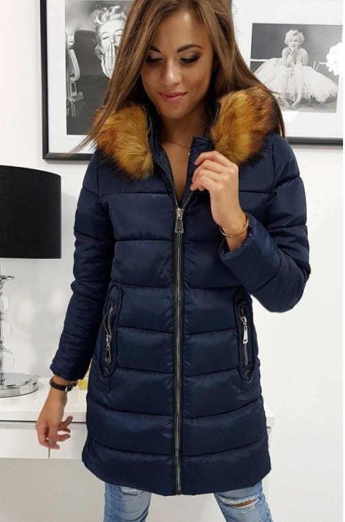 Modrá dámská bunda na zimu