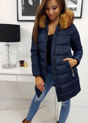Prošívaná dámská zimní bunda v prodloužené délce