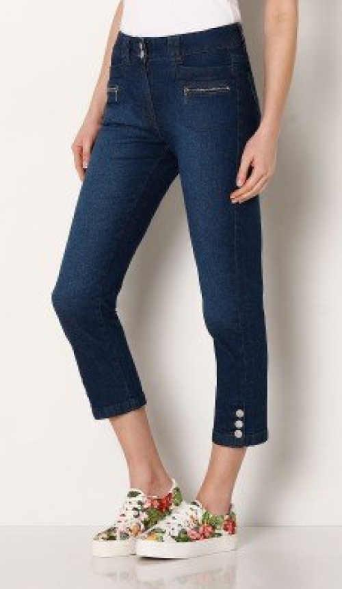 Riflové kalhoty zdobené knoflíky