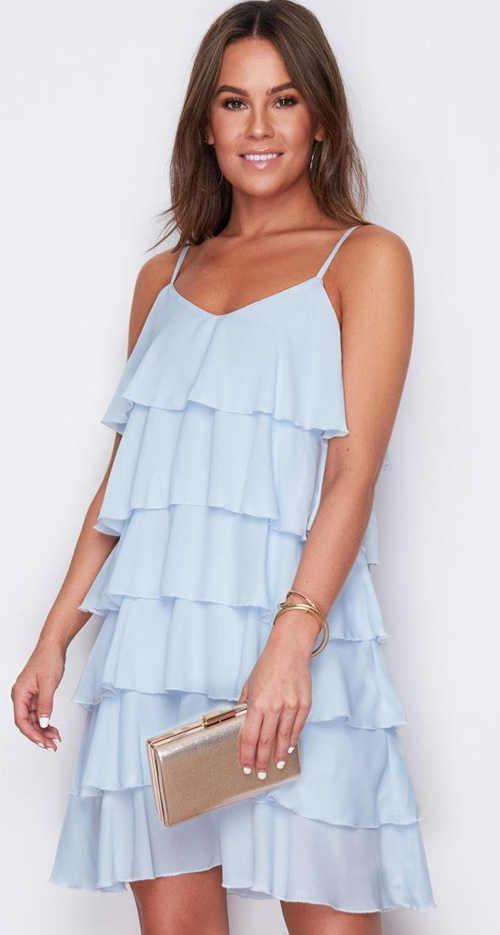 Volánové krátké šaty na ramínka v modrém provedení
