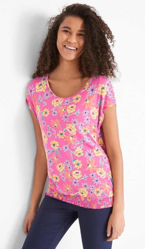 dámské tričko se žabičkovaným lemem