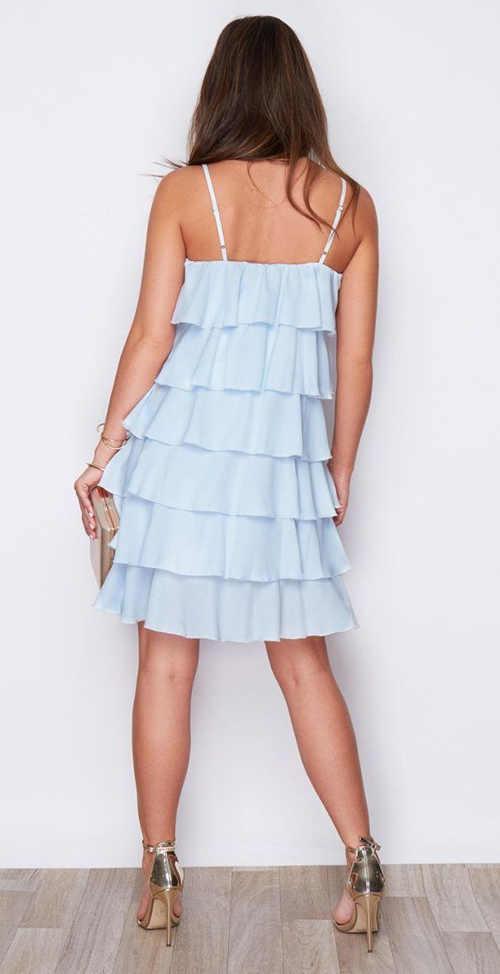letní volánové modré šaty