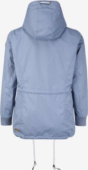 Šedomodrá dámská přechodová bunda s kapucí