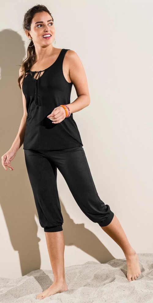Černé sportovní dámské letní kalhoty