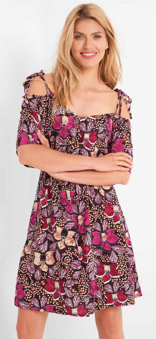 Fialové letní dámské šaty Orsay s květinovým vzorem